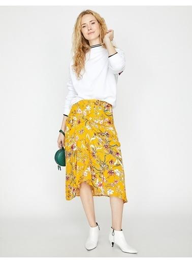 Koton Çiçekli Midi Etek Sarı